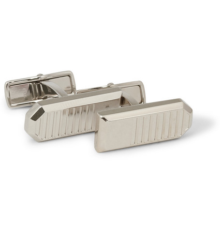 Alfred Dunhill Engraved Palladium-Plated Cufflinks