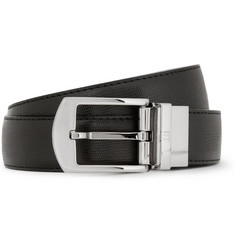 Dunhill Black 3cm Cut-To-Fit Textured-Leather Belt