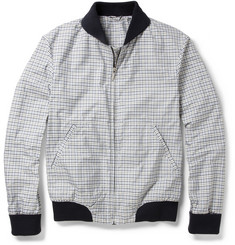 Alfred Dunhill Ribbed-Trimmed Check Bomber Jacket