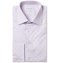 Richard James Lilac Spotted Cotton Shirt
