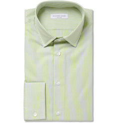 Richard James Green and White Bengal Stripe Cotton Shirt