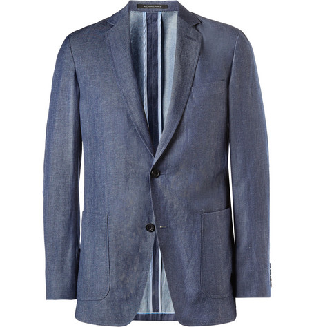 Richard James Slim-Fit Unstructured Wool and Linen-Blend Blazer
