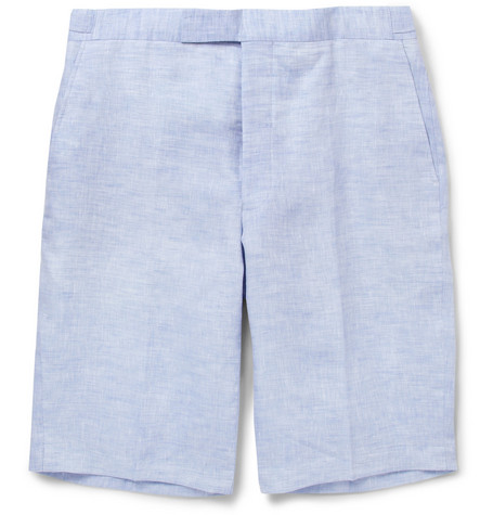 Richard James Blue Linen Suit Shorts