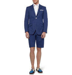 Richard James Blue Slim-Fit Cotton Suit Shorts