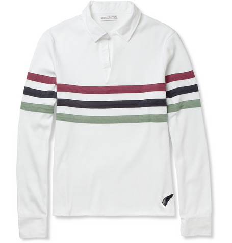 Michael Bastian Striped Cotton-Jersey Polo Shirt