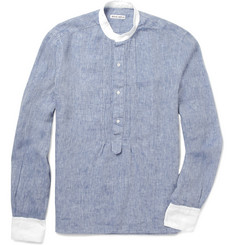 Michael Bastian Pleated-Bib Grandad-Collar Linen Shirt