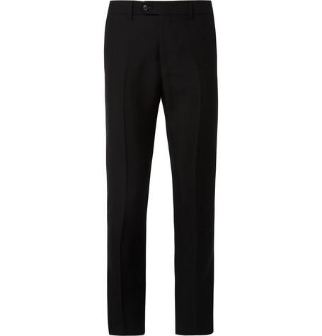 Acne Black Drifter Mohair-Blend Tuxedo Trousers