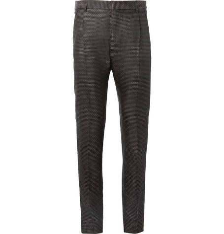Acne Studios Regent Slim-Fit Pleated Silk-Blend Jacquard Trousers