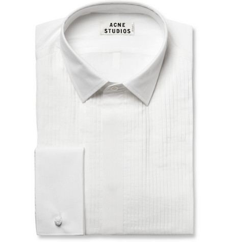 Acne Studios White Ritz Cotton and Silk-Blend Tuxedo Shirt