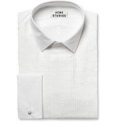 Acne White Ritz Cotton and Silk-Blend Tuxedo Shirt