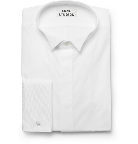 Acne White Jives Slim-Fit Cotton Tuxedo Shirt