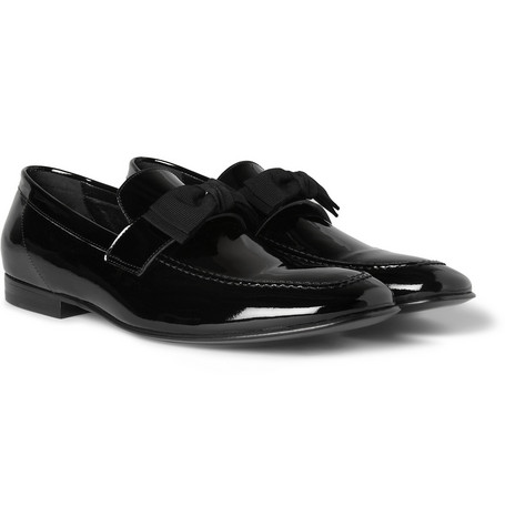 Acne Studios Lorenzo Grosgrain-Trimmed Patent-Leather Loafers