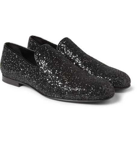 Jimmy Choo Sloane Glitter-Finish Leather Slippers