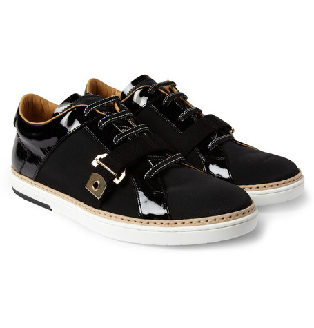 Jimmy Choo Deacon Canvas and Patent-Leather Sneakers
