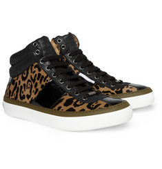 Jimmy Choo Belgravia Jaguar-Print Ponyskin High Top Sneakers