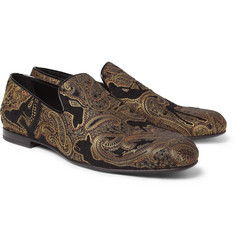 Jimmy Choo Sloane Paisley-Embroidered Velvet Slippers