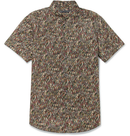 Kyle Short-Sleeved Printed Cotton-Poplin Shirt
