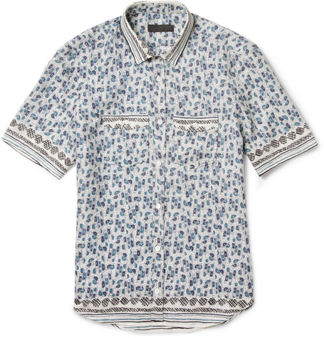 Burberry Prorsum Slim-Fit Printed Silk-Blend Shirt