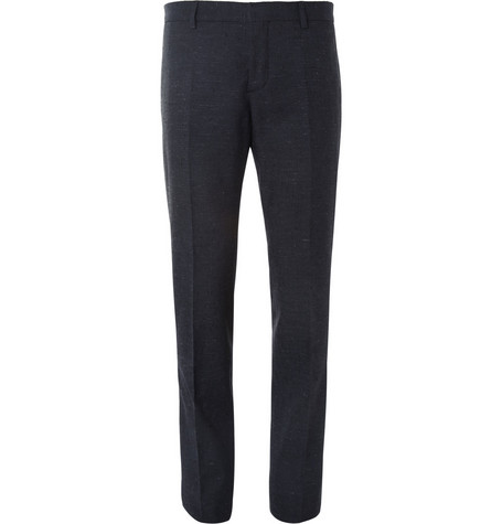 Burberry Prorsum Navy Straight-Leg Slub Suit Trousers