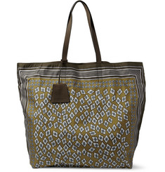 Burberry Prorsum Printed Leather-Trimmed Tote Bag