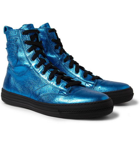 Burberry Prorsum Metallic Leather High Top Sneakers