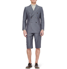 Junya Watanabe Blue Wool and Mohair-Blend Suit Jacket