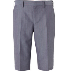Junya Watanabe Blue Wool and Mohair-Blend Suit Shorts