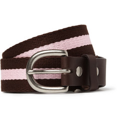 Junya Watanabe Striped Leather-Trimmed Belt