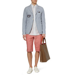 Junya Watanabe Unstructured Striped Cotton Seersucker Blazer
