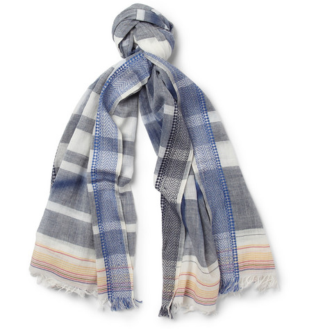 Paul Smith Shoes & Accessories Spray-Print Striped Cotton Scarf