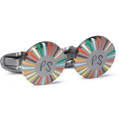 Paul Smith Shoes & Accessories Striped Round Cufflinks