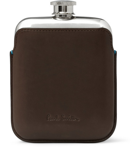Paul Smith Shoes & Accessories Leather-Cased Hip Flask