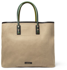 Paul Smith Shoes & Accessories Leather and Cotton-Canvas Tote Bag