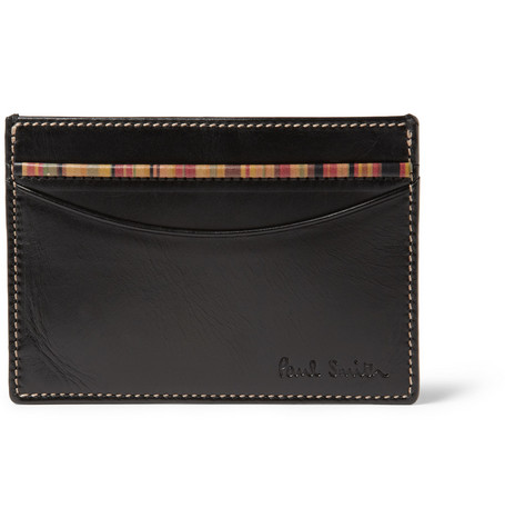 Paul Smith Shoes & Accessories Stripe-Trimmed Leather Card Holder