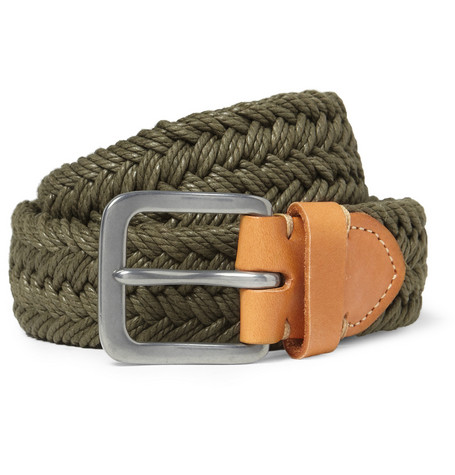 Paul Smith Shoes & Accessories Leather-Trimmed Woven Cotton Belt