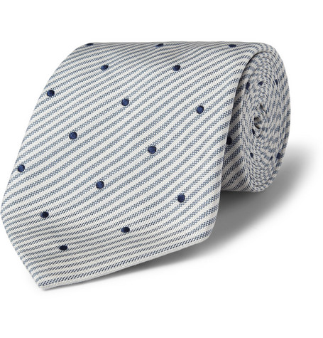 Paul Smith Shoes & Accessories Stripe and Spot-Patterned Silk Tie