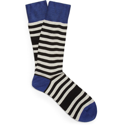 Paul Smith Shoes & Accessories Odd Striped Cotton-Blend Socks