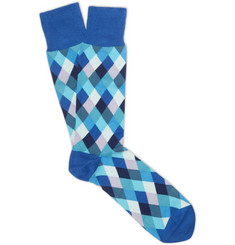 Paul Smith Shoes & Accessories Diamond-Patterned Cotton-Blend Socks