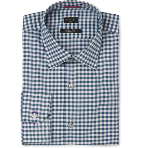 Paul Smith London Green and Blue Gingham Check Cotton Shirt