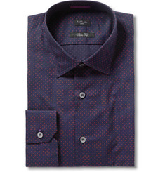 Paul Smith London Navy Slim-fit Swiss-Dot Cotton Shirt