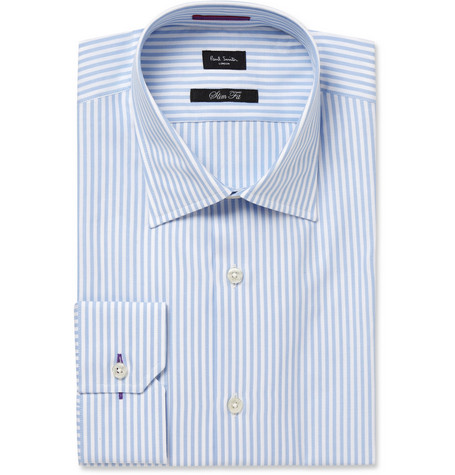 Paul Smith London Blue and White Striped Cotton Oxford Shirt