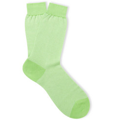 Richard James Striped Mercerised Cotton Socks