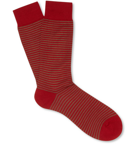 Pantherella Farringdon Striped Cotton-Blend Socks
