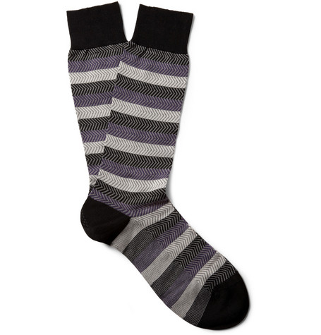 Pantherella Garibaldi Patterned Cotton-Blend Socks