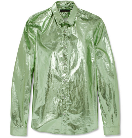 Burberry Prorsum Slim-Fit Metallic Cotton Shirt