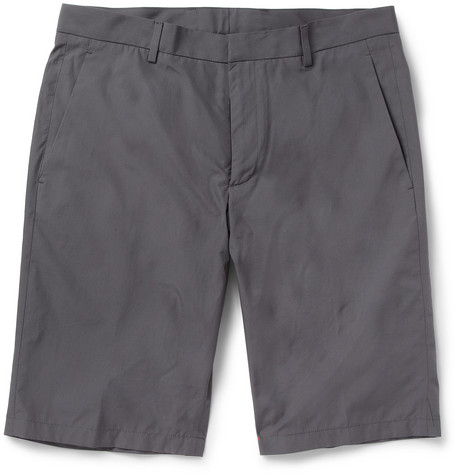 Jil Sander Grey Straight-Leg Cotton Suit Shorts
