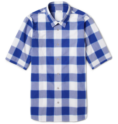 Jil Sander Slim-Fit Check Cotton-Poplin Short Sleeved Shirt