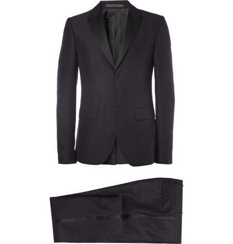Valentino Navy Wool and Mohair-Blend Tuxedo