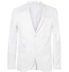 Valentino White Slim-Fit Cotton-Piqué Suit Jacket