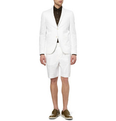 Valentino White Cotton-Blend Piqué Suit Shorts
